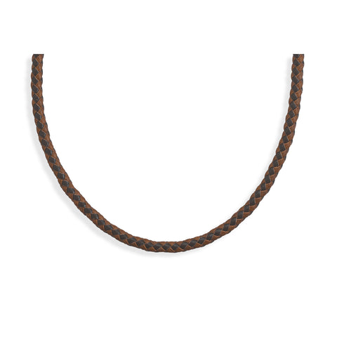 "21.5"" Braided Brown and Tan Leather Necklace"