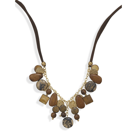 "18""+2"" Multibead Suede and Gold Plated Fashion Necklace"