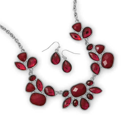 Silver Tone Bib Style Fashion Necklace and Earring Set