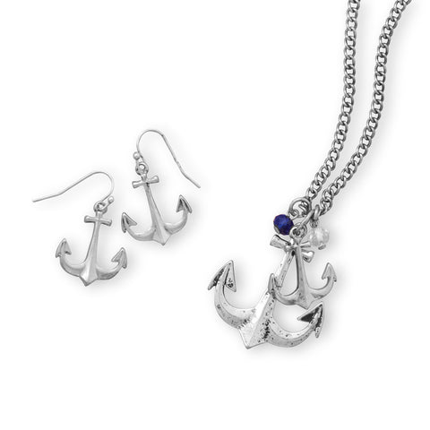 Anchors Away Fashion Necklace and Earring Set
