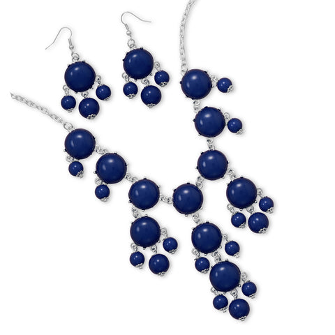 Silver Tone Blue Bead Bubble Style Fashion Set