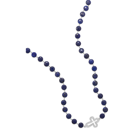 "36"" Lapis Bead Fashion Necklace with Crystal Cross"