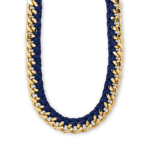 "20"" + 3"" Gold Tone Fashion Necklace with Navy Blue Cord"