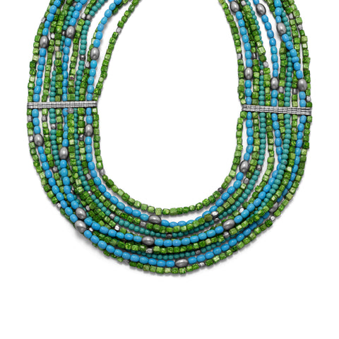 "18"" + 3"" Multistrand Blue and Green Glass Bead Fashion Necklace"