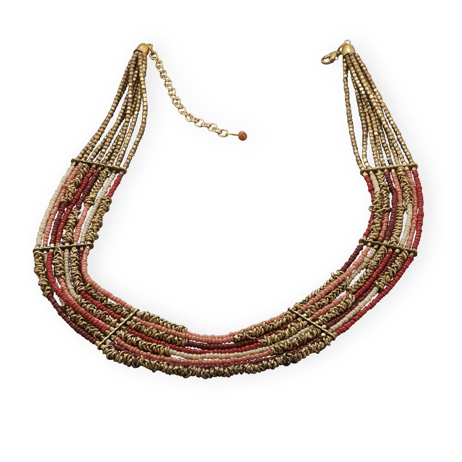 ''20'''' + 3'''' Multistrand Brass Necklace with Red and Pink GLASS BEADS''