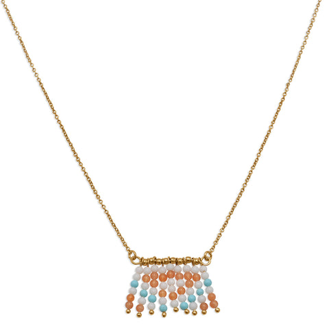 "17"" + 2"" 18K Gold Plated Copper Necklace with Geometric Pattern Drop"
