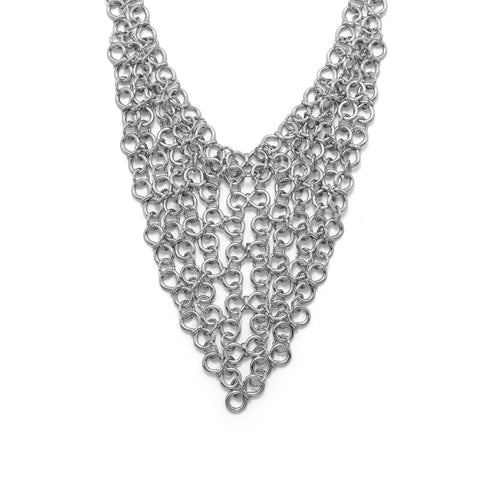 Silver Tone Chain Link Bib Fashion Necklace