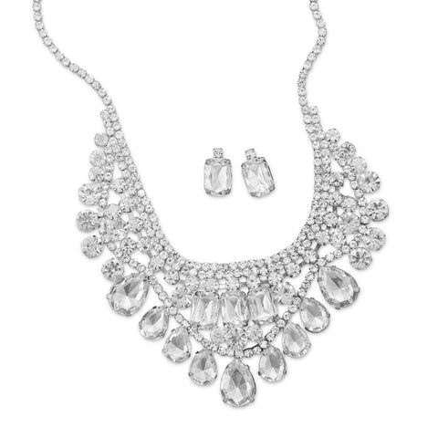 Glamorous Silver Tone and Crystal Fashion Necklace and Earring Set
