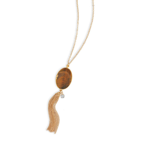 Gold Tone Tiger's Eye Tassel Necklace