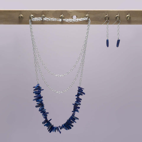 Silver Tone Lapis Spike Drop Earrings