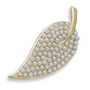 Gold Plated Leaf Fashion Pin with Simulated Pearls