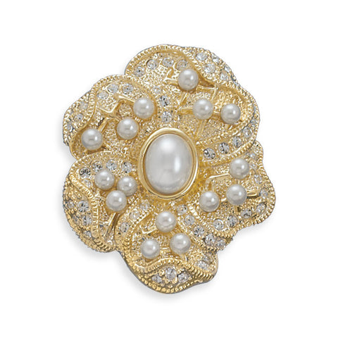 14 Karat Gold Plated Floral Design Fashion Pin