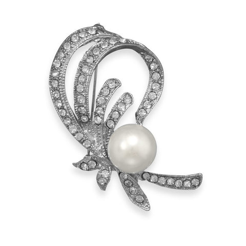 Fashion Pin with Crystal and White Imitation Pearl