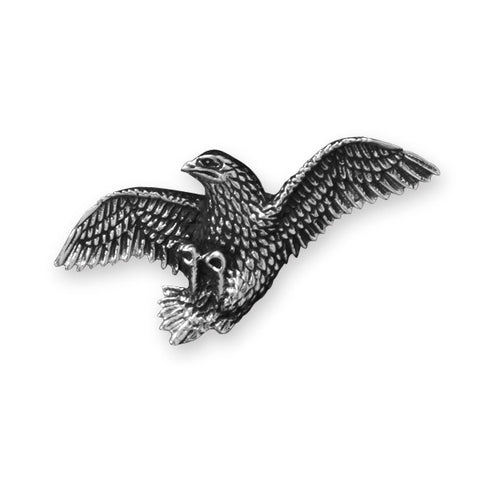 White Brass Eagle Jacket Pin