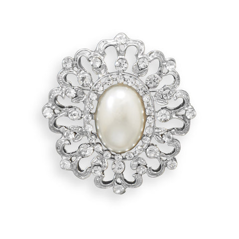 Vintage Imitation Pearl and Crystal Fashion Pin