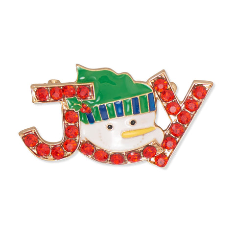 Joy Snowman Holiday Fashion Pin