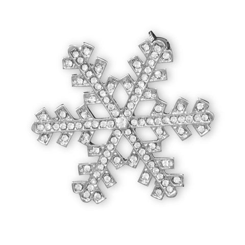 Silver Tone Crystal Snowflake Fashion Pin