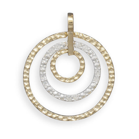 Two Tone Fashion Pendant with Hammered and Crystal Circles