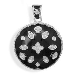 Silver Plated Black Epoxy and Clear Crystal Fashion Pendant