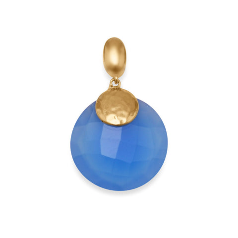 14 Karat Gold Plated Brass Pendant with Blue Chalcedony