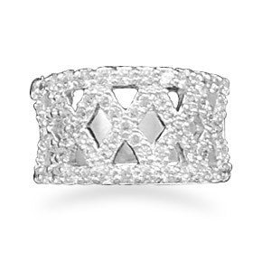 X Pattern CZ Fashion Ring