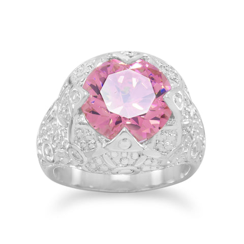 Silver Plated Brass Pink CZ Fashion Ring with Swirl Design Band