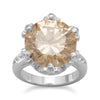 Silver Plated Brass Champagne CZ and Clear Crystal Fashion Ring