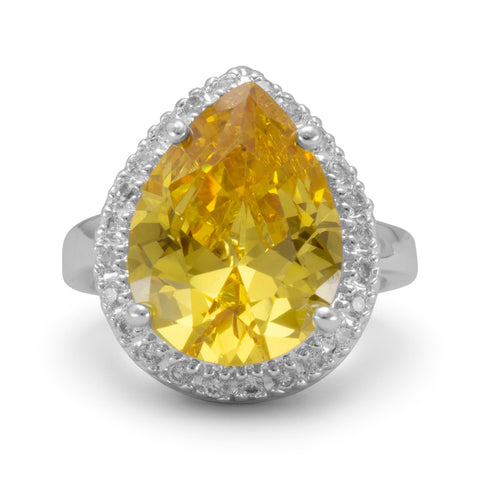 Silver Plated Brass Pear Shape Yellow and Clear CZ Fashion Ring