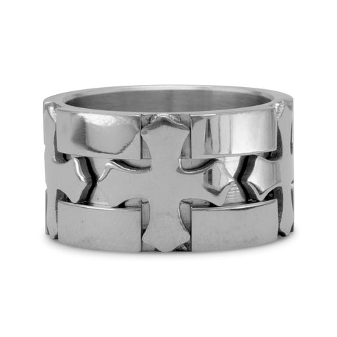 Stainless Steel with 3 Cross Design Ring