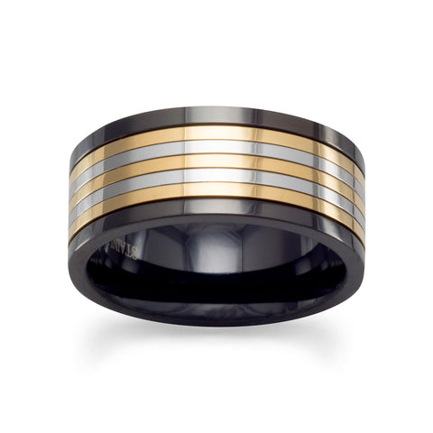 Tri Tone Stainless Steel Spin Ring