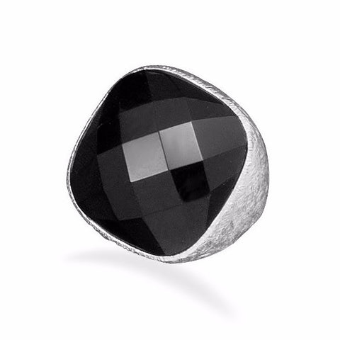 Silver Plated Brass Black Onyx Ring
