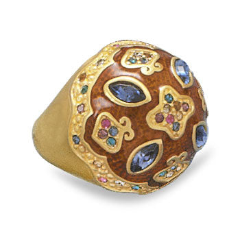 14 Karat Gold Plated Multicolor Crystal Brass Ring