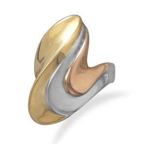Tri Tone Wave Design Brass Ring