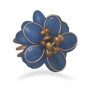 Bronze and Blue Quartz Adjustable Fashion Ring