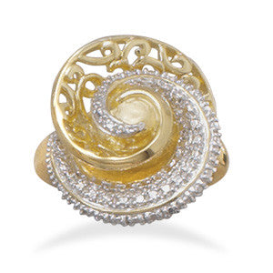 Two Tone Plated Brass Swirl Ring