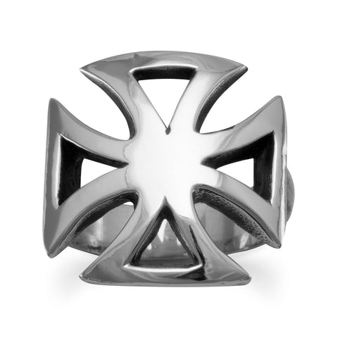 White Brass Maltese Cross Ring