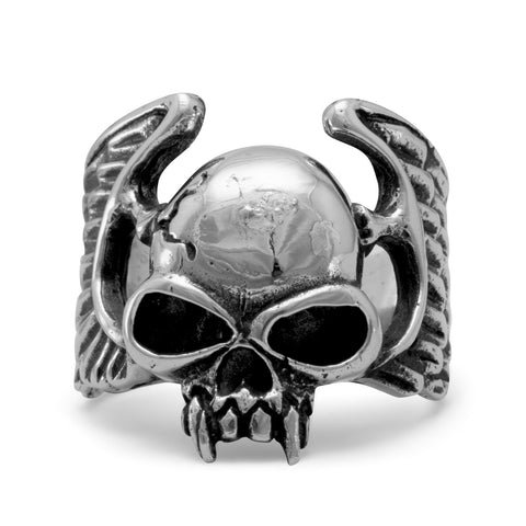 White Brass Winged Skull Ring