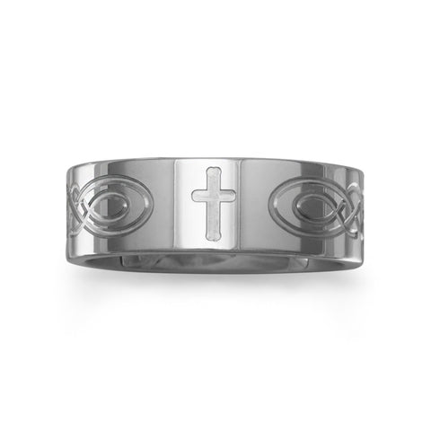 Tungsten Band with Etched Cross