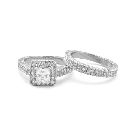 Rhodium Plated Brass and CZ 2 Ring Set