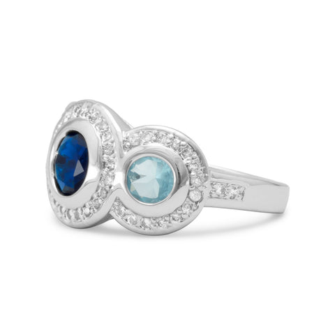 Rhodium Plated Brass Ring with Blue CZs