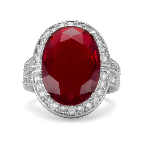 Rhodium Plated Brass Ring with Oval Red CZ