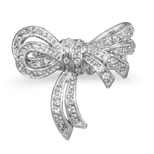 Rhodium Plated Brass CZ Bow Ring