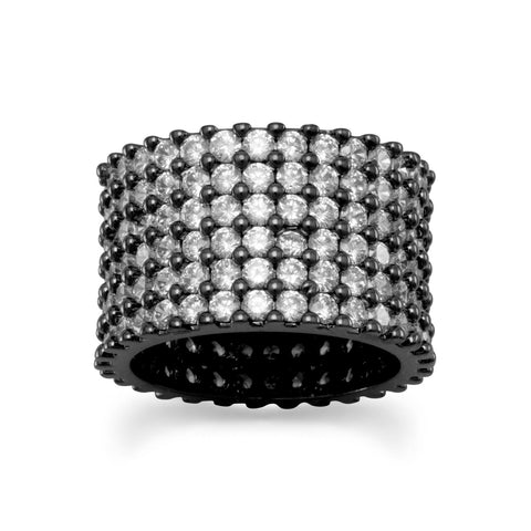Hematite Plated Brass Multirow Clear CZ Band