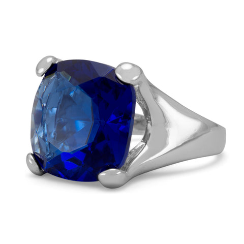 Sea of Blue Rhodium Plated Brass CZ Ring