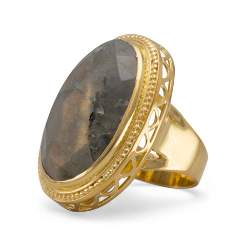14 Karat Gold Plated Brass Ring with Labradorite