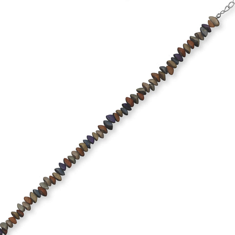 "9""+1"" Extension Multicolor Buri Wood Seed Bead Fashion Anklet"