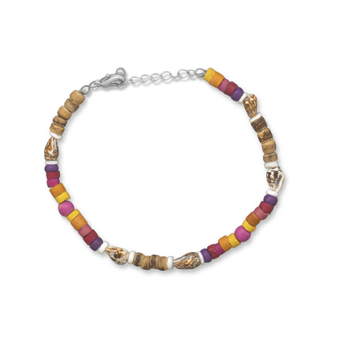 Multicolor Wood Bead Anklet