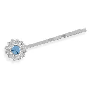 Silver Plated Fashion Bobby Pin with Light Blue Crystal