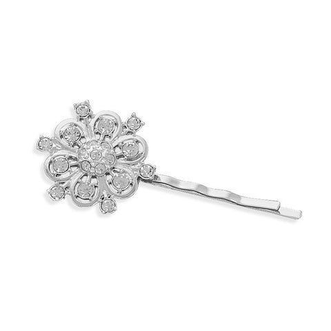 Silver Plated Fashion Bobby Pin with Crystal Flower