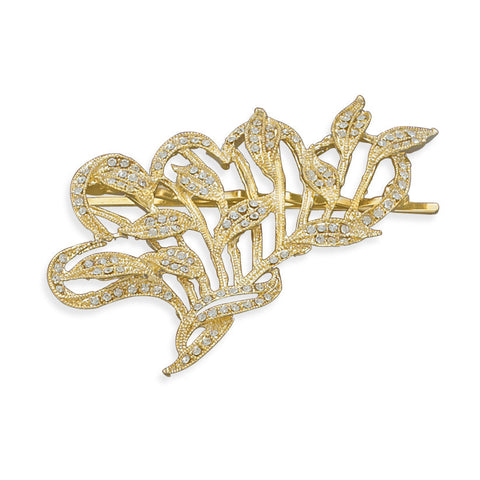 14 Karat Gold Plated Crystal Fashion Bobby Pin